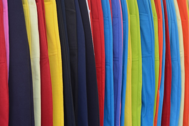 Colorful of jean pants for sale in market