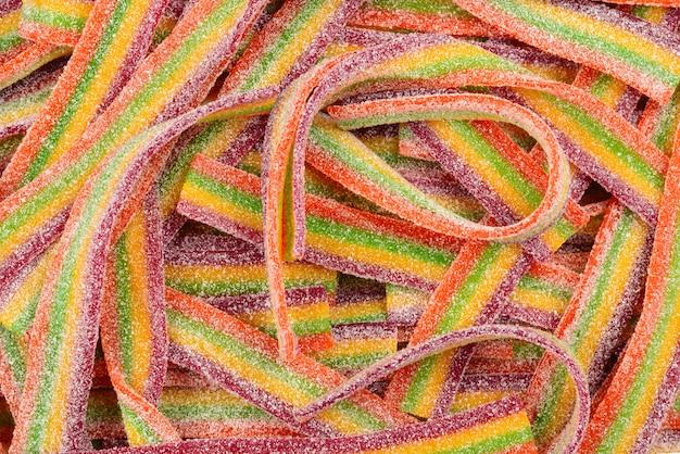 화려한 젤리 콩 배경입니다. 젤리 사탕 패턴.