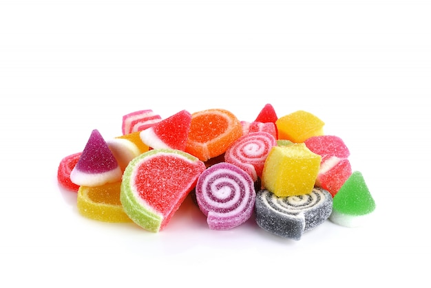 Colorful of jelly sweet sugar candies isolated