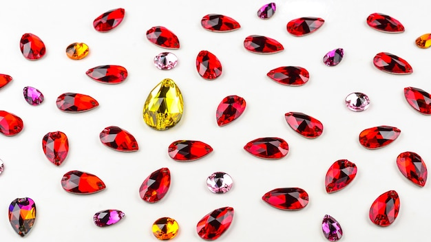 Colorful jewellery stone for sewing. drop form.