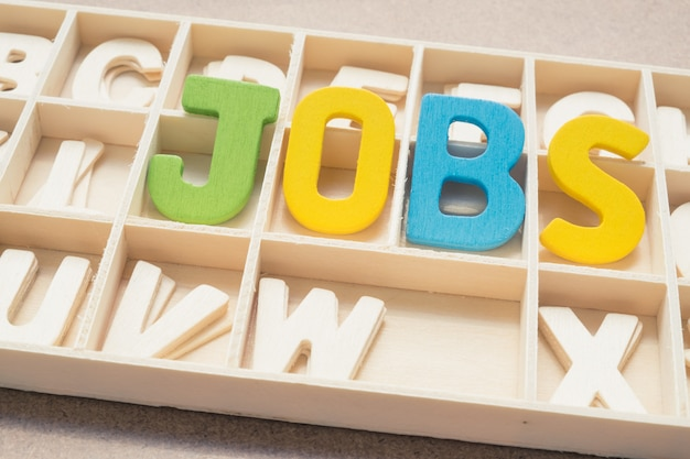 Colorful jobs wording in wooden box