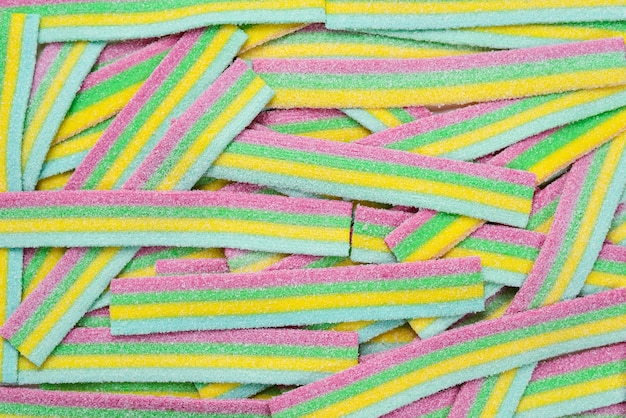 Colorful juicy gummy candies background. top view. jelly  sweets.