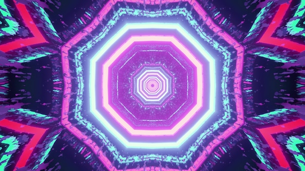 Colorful kaleidoscopic lines forming symmetric abstract pattern glowing in dark tunnel in 3d illustration