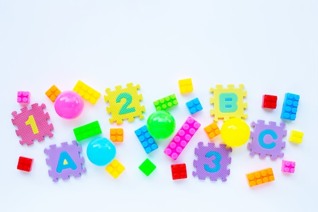 Colorful kids toys, top view