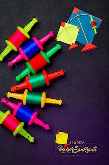 Colorful kite with string indian festival makar sankranti concept