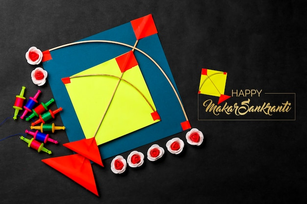 Colorful kite with string indian festival makar sankranti concept