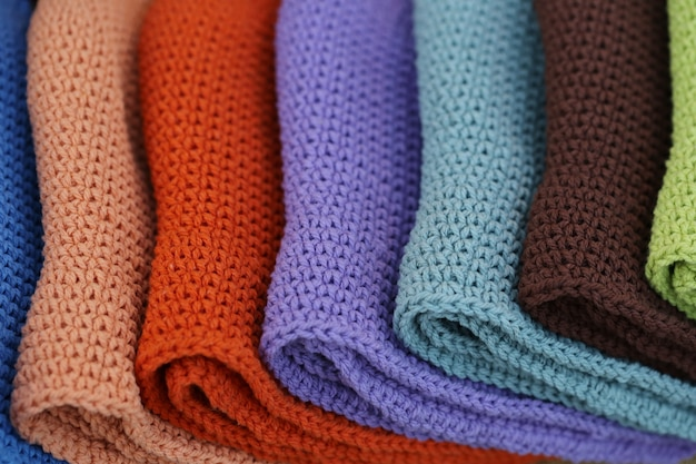Colorful knitting stacked