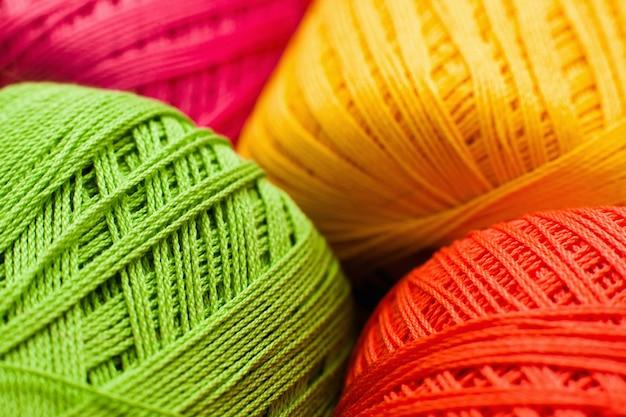Colorful knitting thread texture, handiwork backdrop