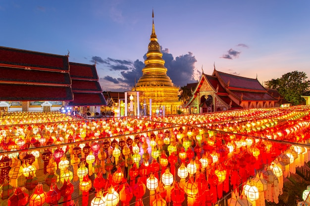 Colorful lamp festival and lantern in loi krathong at wat phra that hariphunchai, lamphun province, thailand