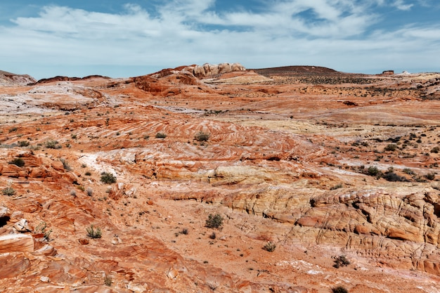 불의 계곡 주립 공원에서 구름과 돌 사막과 푸른 하늘의 화려한 풍경
