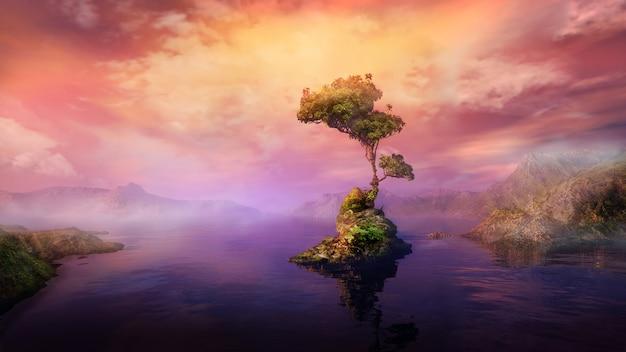 Красочный пейзаж с островом на озере d рендер