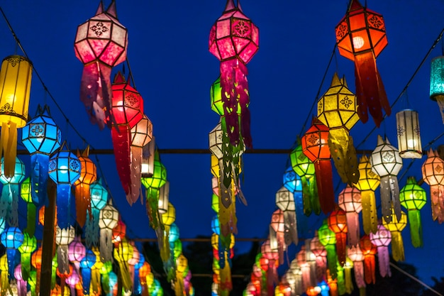Colorful lanterns or lamps in travel at night.