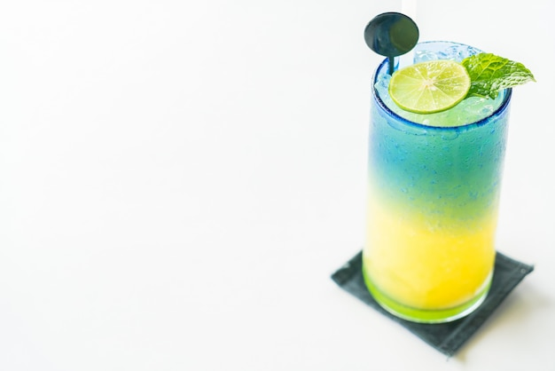 Colorful lemon mocktail