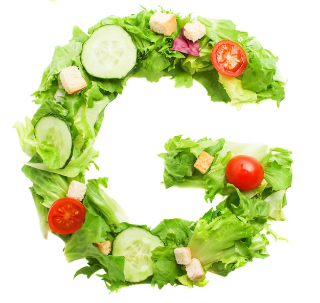 Colorful letter g with vegetables