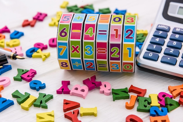 Colorful letters of alphabet on the table
