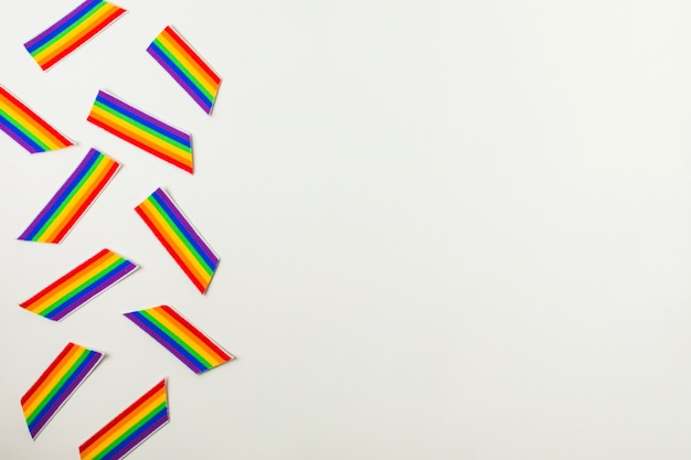 Colorful lgbt paper flags