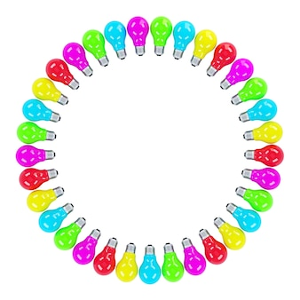 Colorful light bulbs forming a frame isolated