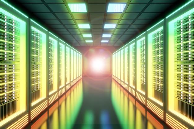 レンズフレア効果のあるカラフルなライトホスティングサーバーのコンピュータールーム。 3dイラストレンダリング。