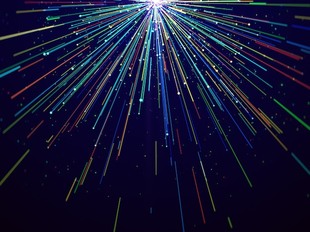 Красочные световые линии на синем элегантном абстрактном фоне