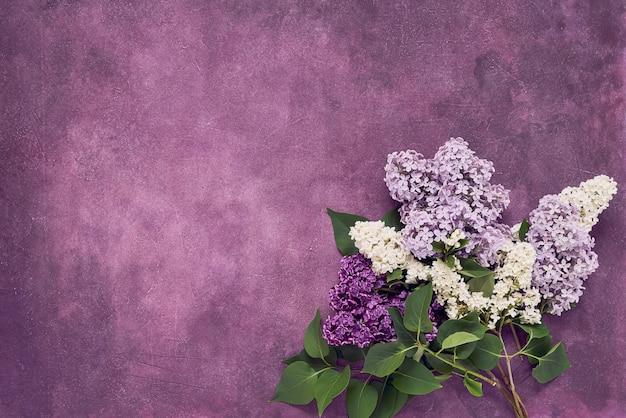 Красочный букет цветов сирени на фиолетовом фоне. копирование пространства, вид сверху. минимализм