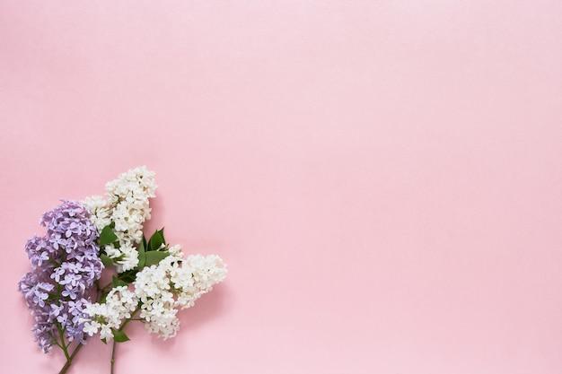 분홍색 배경에 화려한 라일락 꽃 buquet입니다. 공간, 평면도를 복사합니다. 휴일 배경