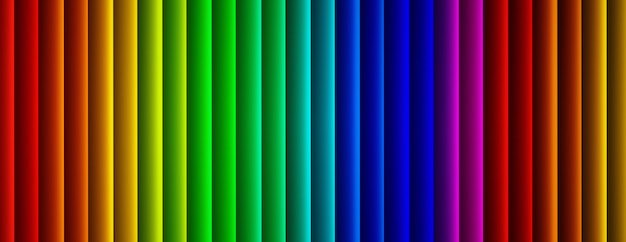 Colorful linear background, geometric rainbow lines, 3d render, panoramic image