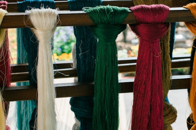 Colorful lines of silk thread