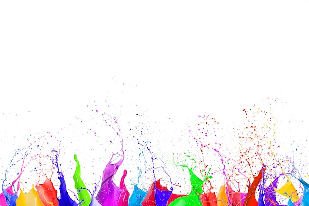 Colorful liquid paint splashes
