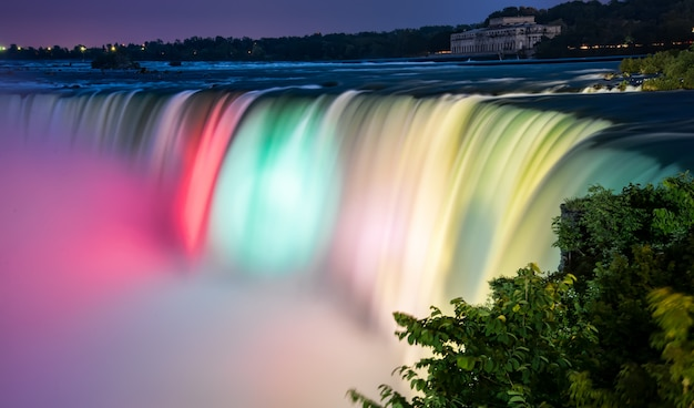 Colorful lit niagara falls