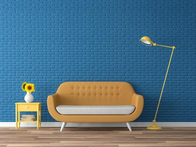 Красочная гостиная 3d визуализация темно-синяя пустая кирпичная стена украсить желтым тканевым диваном