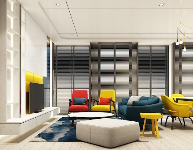 Colorful living room indoor interior design with feature wall in red blue yellow and gray tone with tv cabinet and sofa armchair on wooden floor, ceiling and wood blind at large window 3d render