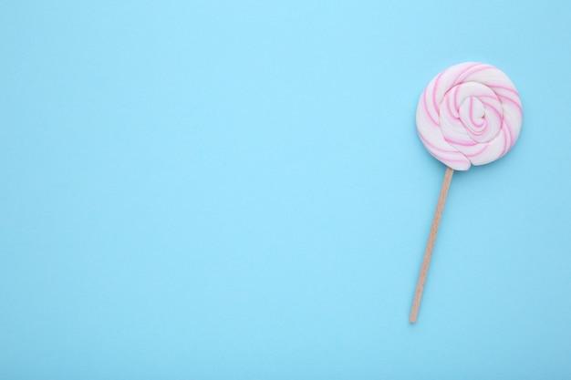 青、甘いキャンディコンセプトにカラフルなロリポップ