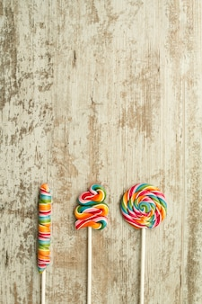 Colorful lollipops of different shapes