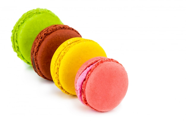 Colorful macarons cakes. small french cakes. sweet and colorful french macaroons