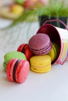 Colorful macarons cakes. small french cakes. top view. pastel colors. pastry, bakery and branding concept.