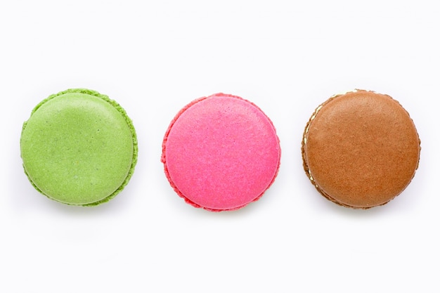 Colorful macarons isolated on white background