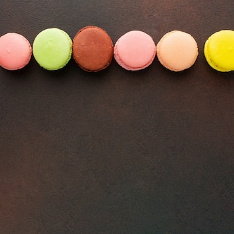 Colorful macarons with copy space