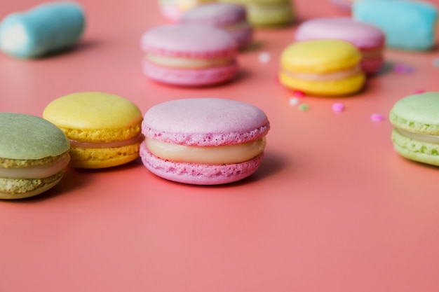 Colorful macaroon on colored background