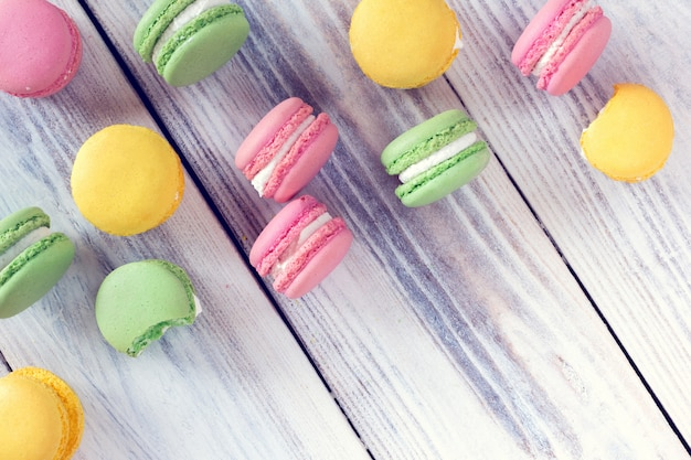 Colorful macaroons as a background