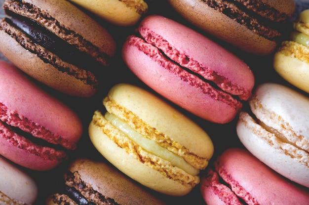 Colorful macaroons cookies vintage photo