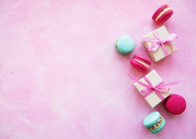 Colorful macaroons and gift boxes