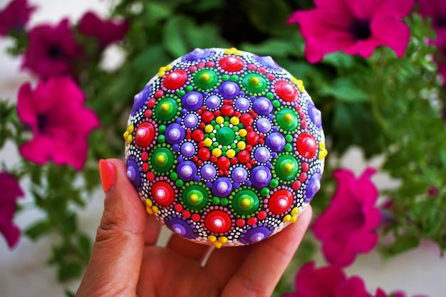 Colorful mandala rock