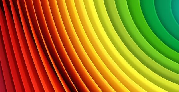 カラフルな多くのシート明るい紙の背景。虹の色の紙の抽象化。 3d