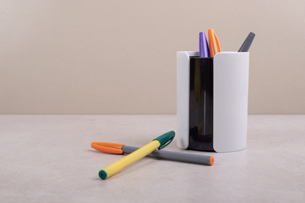 Colorful marker pens on white background