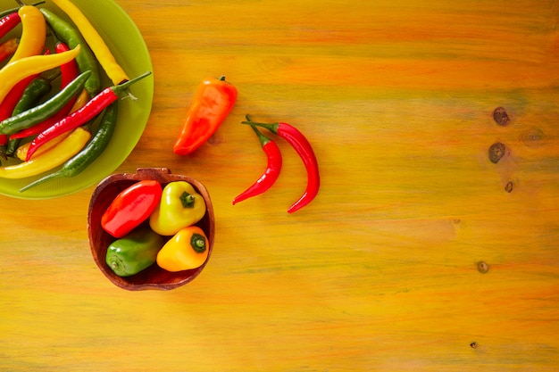 Colorful mexican chili peppers in yellow