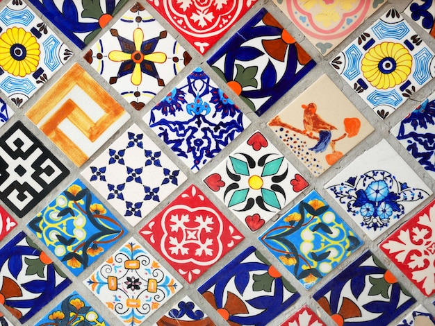 Colorful mexican talavera ceramic tiles wall decoration texture background.