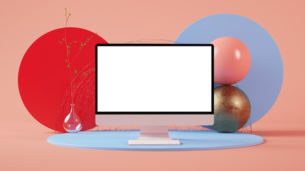 다채로운 최소한의 추상 컴퓨터 모형 3d 렌더링
