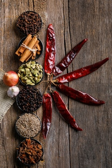 Colorful mix of different spices  on a wooden board