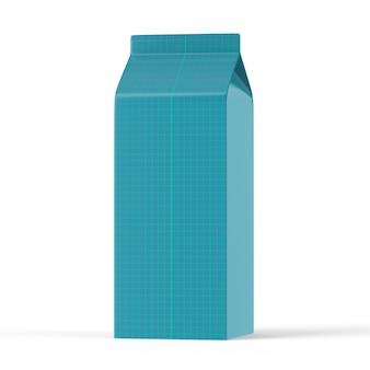 シンプルな背景にミルク用の青い容器のカラフルなモックアップ。シンプルな青いミルク容器