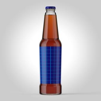 간단한 배경에 병의 다채로운 모형입니다. 녹색 스티커가 있는 맥주 유리 모형
